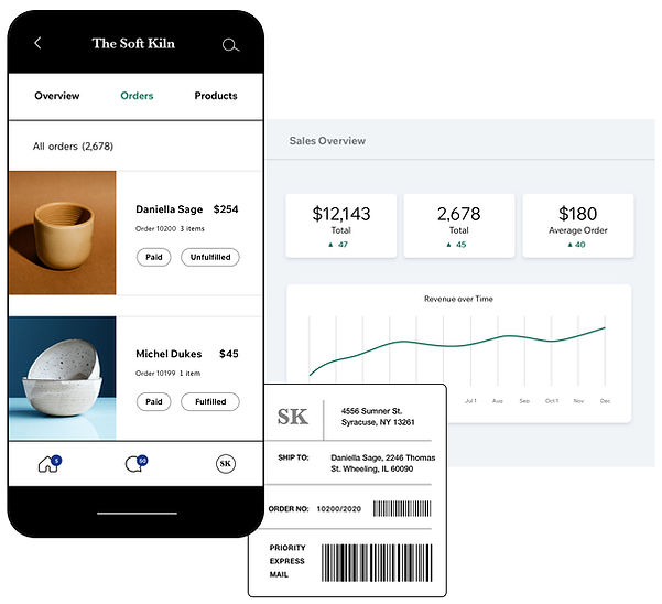 eCommerce ceramics website with mobile store dashboard, shipping label and store sales overview.