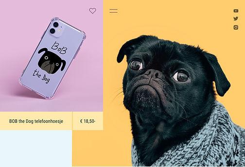 On demand telefoonhoesje dat wordt verkocht door een influencer en contentmaker met hondenthema