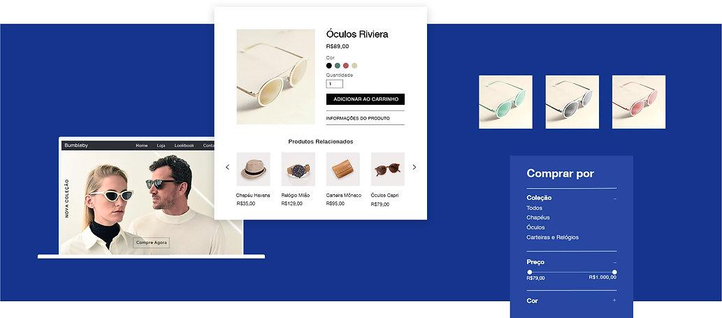 Loja de acessórios online exibindo vitrine, página do produto e filtro por variante do produto.