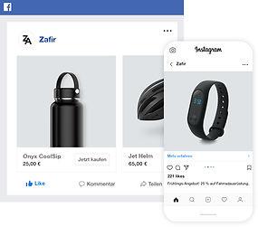 Facebook- und Instagram-Vertriebskanäle für den Radsport-Online-Shop.