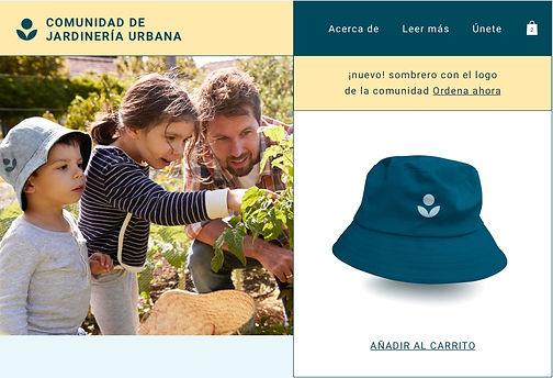 Sombrero de print on demand comercializado por una comunidad de jardineros