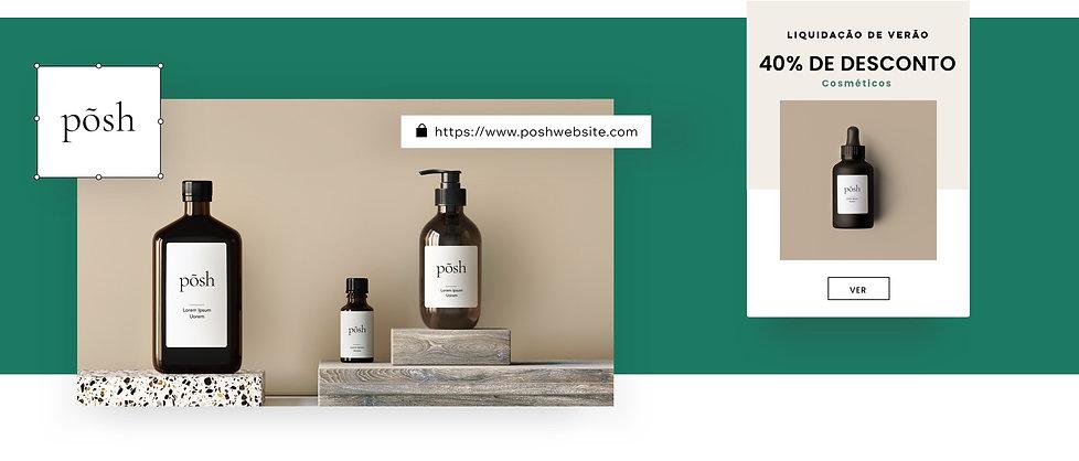 Marca de uma loja virtual de cosméticos com um logo, domínio e email marketing