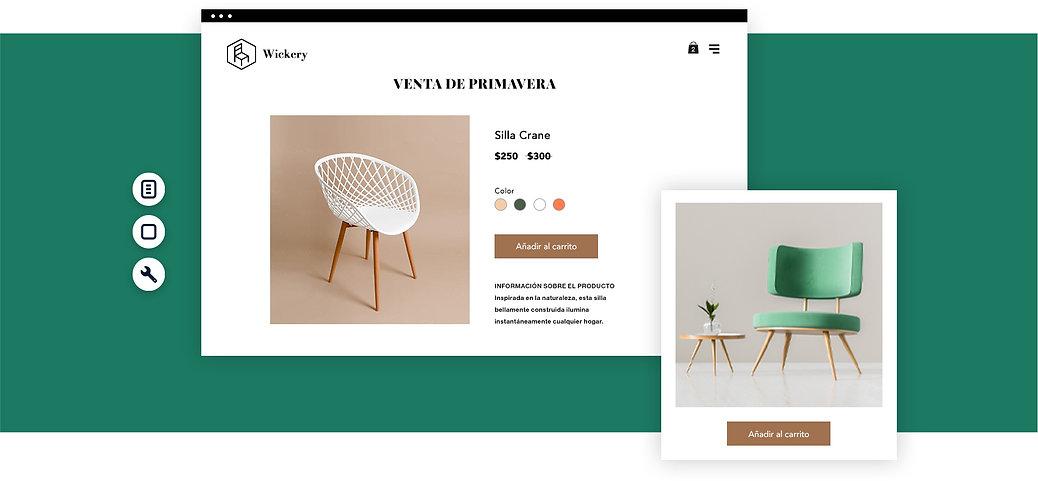 Página de productos de una tienda de muebles online con imágenes de una silla.