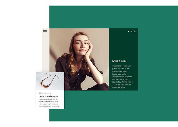 """Loja de jóias online com uma página """"Sobre"""" e um post de blog"""