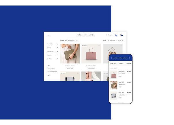 Loja de bolsas online e gerenciamento de pedidos no app Wix Owner