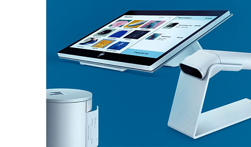 The Complete Wix Point of Sale Package, showing receipt printer, barcode scanner and POS tablet.
