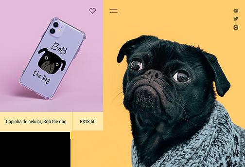 Impressão capa de telefone sob demanda vendida por um influenciador e criador de conteúdo com tema de cachorro