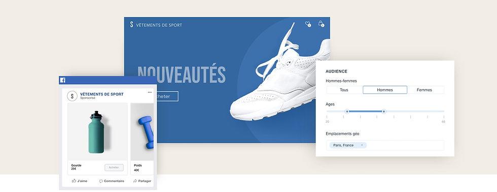 Publicité Facebook pour une boutique en ligne Wix de sport