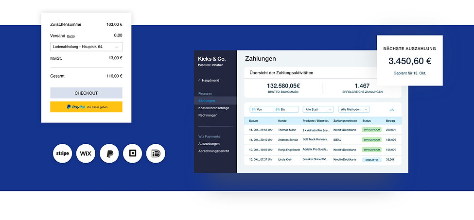 Zahlungsübersicht für einen Online-Shop von Wix mit Kasse, Transaktionstabelle und Auszahlungsbilanz.