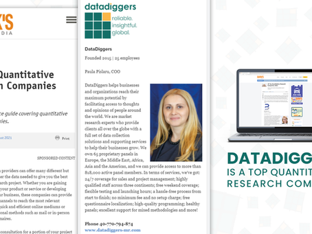DataDiggers has been ranked as one of the top 28 quantitative research companies in 2021 by Quirk's!