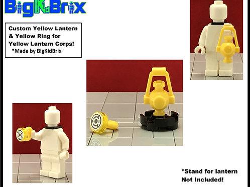 YELLOW LANTERN & RING Set for Yellow Lantern Corps Lego Minifigures