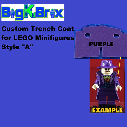 "Trench Coat Sytle ""A"" PURPLE Color for Lego Minifigures"