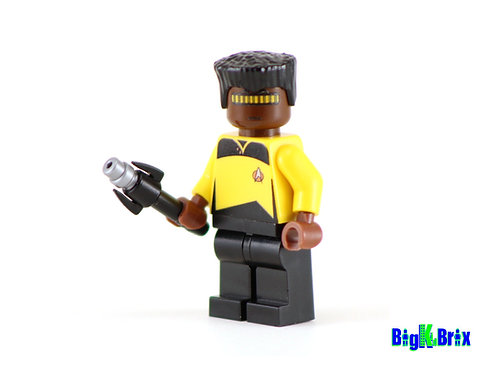 GEORDI LaFORGE Custom Printed on Lego Minifigure! Star Trek
