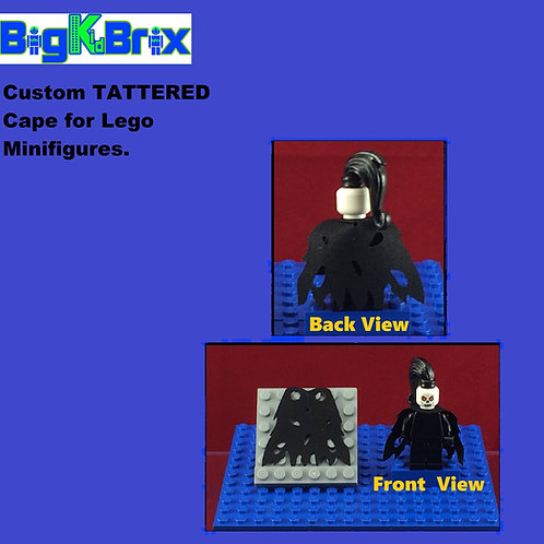 Cape Tattered BLACK Custom for Lego Minifigures Minifigs
