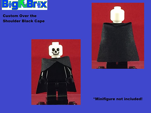 Cape BLACK Over the Shoulders Straight Back for Lego Minifigures