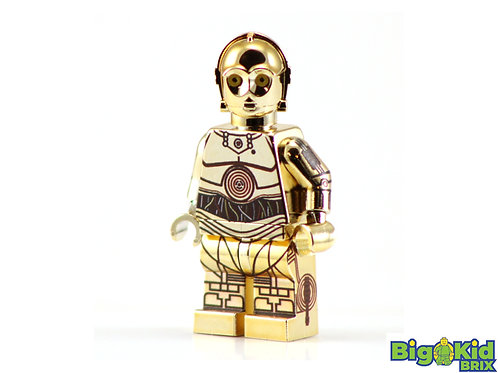 C-3PO GOLD CHROME Droid Custom Printed on Lego Minifigure! Star Wars *Only 6 ea