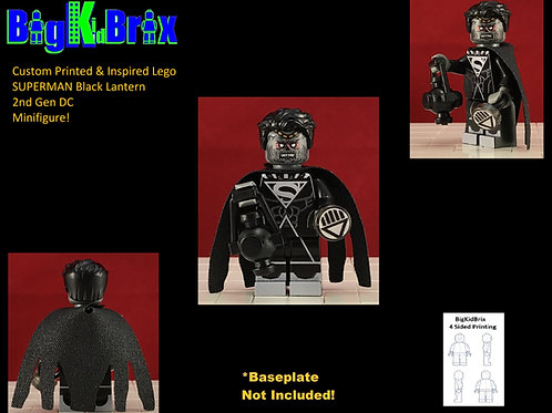 SUPERMAN Black Lantern 2nd Gen Custom Printed & Inspired Lego DC Minifigure