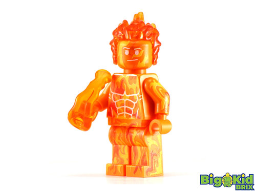 HUMAN TORCH Flame On Custom Printed on Lego Minifigure! Marvel Fantastic Four