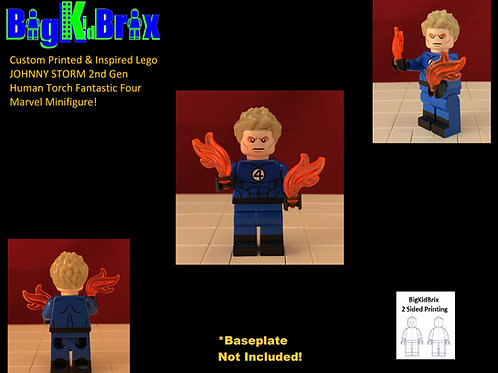 JOHNNY STORM Human Torch Custom Printed & Inspired Lego Marvel Minifigure