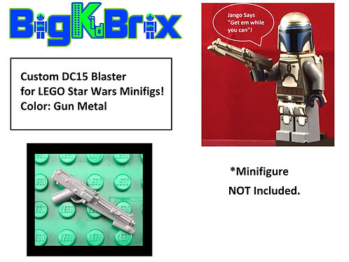 DC15 GUN METAL GREY Custom Blaster for Lego Star Wars Minifigures Minifigs