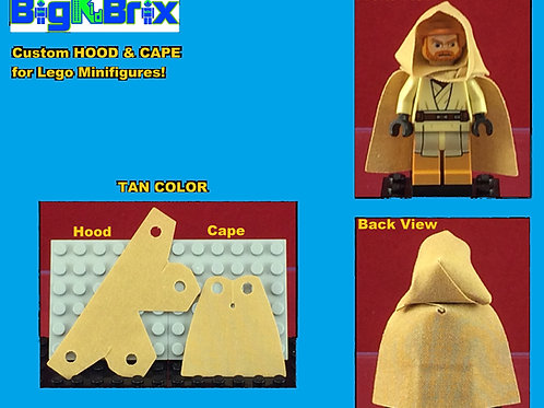 Hood & Cape set TAN for Lego Minifigures Minifigs