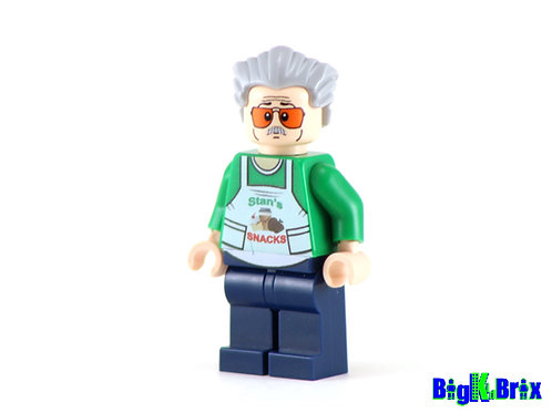 STAN LEE Stan's Snacks Custom Printed & Inspired Lego Marvel Minifigure!