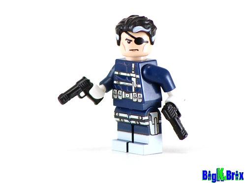 NICKY FURY Comic Version Custom Printed & Inspired Lego Marvel Minifigure