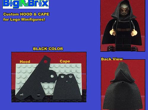 Hood & Cape set BLACK for Lego Minifigures Minifigs