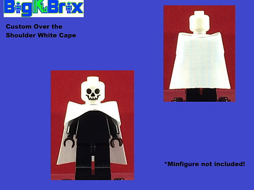 Cape WHITE Over the Shoulders Straight Back for Lego Minifigures