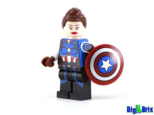CAPTAIN AMERICA PEGGY CARTER Custom Printed & Inspired Lego Marvel Minifigure
