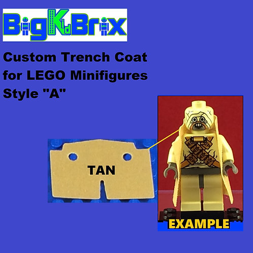 """Trench Coat Sytle """"A"""" TAN Color for Lego Minifigures"""