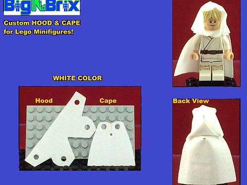Hood & Cape set WHITE for Lego Minifigures Minifigs