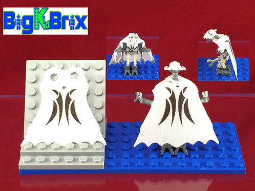 General Grievous WHITE Custom Cape for Lego Minifigure Minifigs