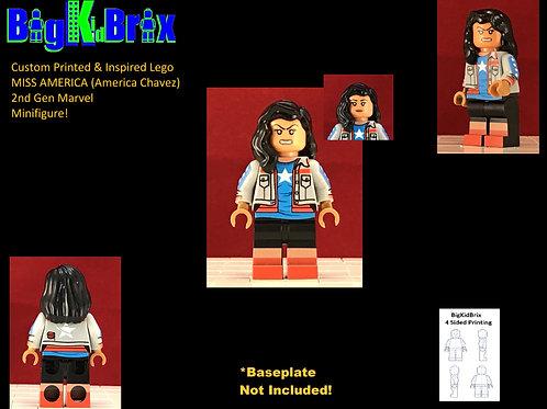 MISS AMERICA (America Chavez) Custom Printed & Inspired Lego Marvel Minifigure