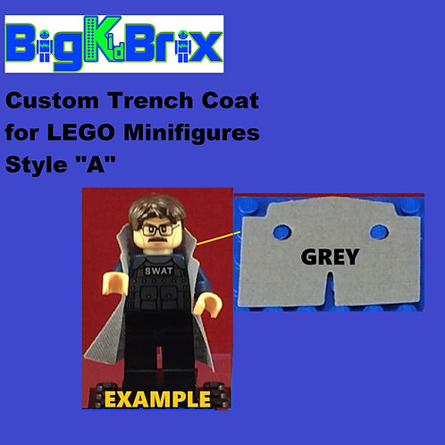 "Trench Coat Sytle ""A"" GREY Color for Lego Minifigures"