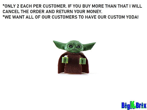BABY YODA Custom Printed Head on Lego baby minifigure body! Star Wars
