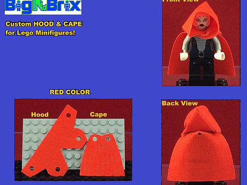 Hood & Cape set RED for Lego Minifigures Minifigs