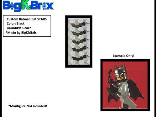 Batman BLACK Custom Bat Stars for Lego Batman Minifigures Minifigs