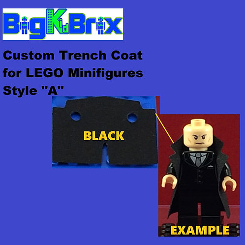 "Trench Coat Sytle ""A"" BLACK Color for Lego Minifigures"