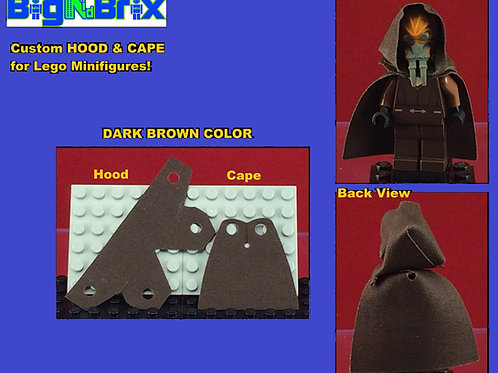 Hood & Cape set DARK BROWN for Lego Minifigures Minifigs