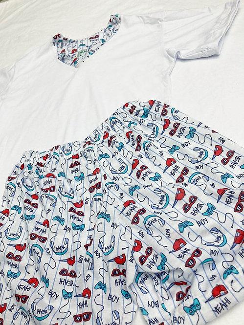 Pijama Curto Gamer Branco V