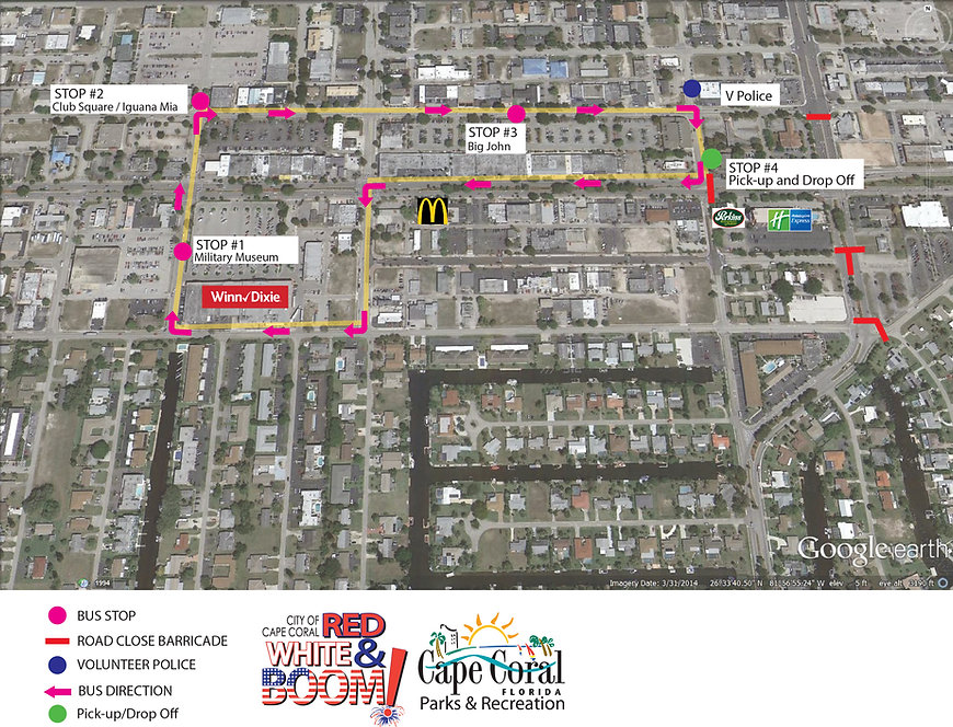 Bus Routes for Red, White and Boom