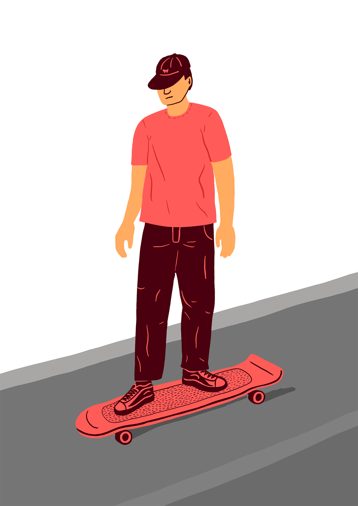 Skater Longboard Berlin Illustration