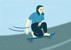 Girl Lonboarding Illustration