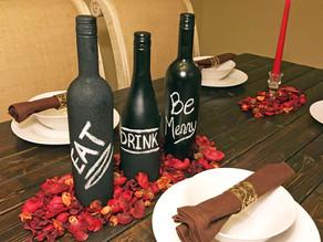 DIY Chalk Wine Bottle Centerpieces