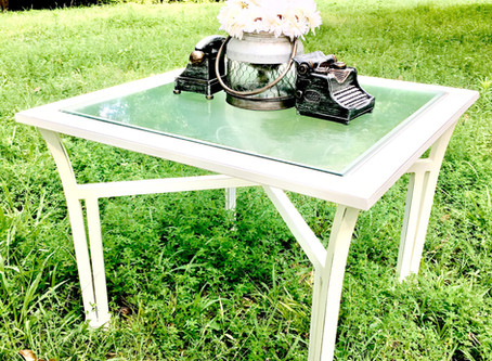 DIY Reclaimed Glass End Table