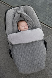 angels nest for car seat in wool and cashmere cover in cotton