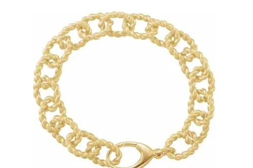 """Gold Plated Sterling Silver 10.75 mm Rope Design Link 7 1/2"""" Bracelet"""