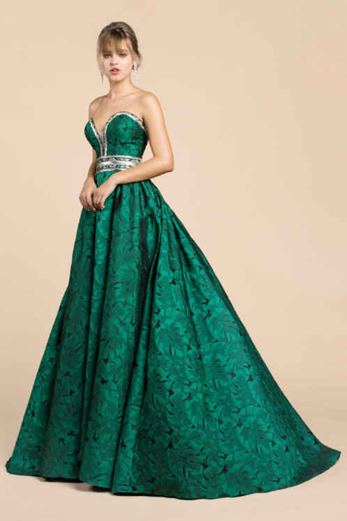 Strapless Sweetheat Palm Leaf Jacquard Ball Gown W Beads