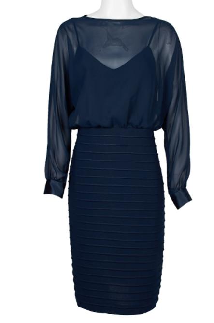 Adrianna Papell Boat Neck Long Sleeeve Blouson Illusion Chiffon Dress